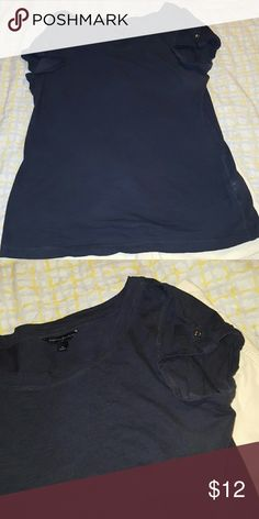 Tee shirt Navy blue tee with wide neckline and button cuff details on the sleeves Banana Republic Tops Tees - Short Sleeve