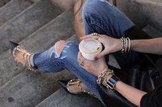 shredded jeans + valentino's rockstud heels