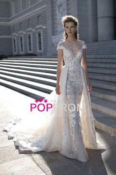Wedding Apparel Sheath/Column Bateau Short Sleeve Tulle Zipper Up Back With Applique
