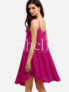 Hot Pink V Neck Crisscross Back Shift Dress