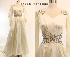 30s Silk Wedding Dress XS / 1930s Embroidered Gown / Sweet as Honey Wedding Dress by CrushVintage on Etsy https://www.etsy.com/listing/170183716/30s-silk-wedding-dress-xs-1930s