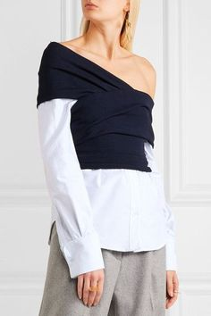 White and light-blue cotton, navy ribbed-knit Button fastenings along front Fabric1: 100% cotton; fabric2: 95% viscose, 3% polyamide, 2% elastane Dry clean ImportedLarge to size. See Size & Fit notes.