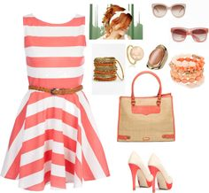 Striped Dress, created by beatupaz on Polyvore