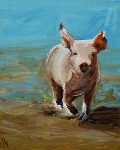 Pig Painting  Run Pig Run  Print of an Original by ArtPaperGarden, $28.00