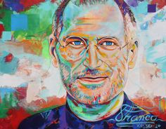 Print Steve Jobs:  giclee  made from an original Acrylic painting by Alexander Franco 8.5 x 11 in. 18 x 24 in. 24 x 30 in.