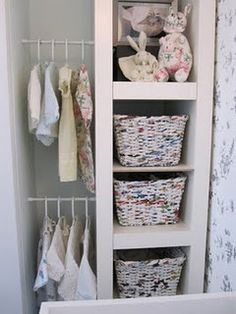 Storage- Ikea shelving unit and mini compression clothing rail.