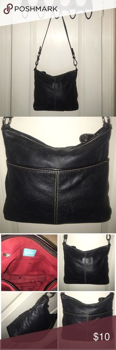 """The Sak black leather handbag purse The Sak black leather handbag purse interior has stains, faint scuffs/scratches on leather, wear on handle loops, and some creasing in leather. Please see pictures for details measures 10.5"""" long 9"""" tall 3"""" wide strap drop 16"""" final sale sold as is no offers accepted The Sak Bags Shoulder Bags"""
