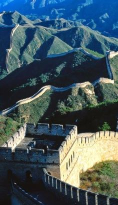 The Great Wall of China. Over 5,000 miles long, this wall began construction under the first Chinese Emperor in 220BC.  It was designed largely to keep invaders out.