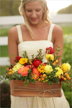 flower box arrangement# wedding# centrepiece# fall# autumn# berries# orange# yellow# green# coral# country