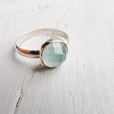 Aqua Chalcedony Ring by CamileeDesigns