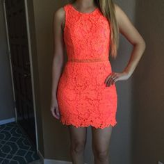 Neon Coral Crochet Dress Neon Coral Crochet Dress. Back Zip with hook and tie closure. Brand new. Never worn. Available in S-M-L. Open back keyhole design. Stretch. Fully lined. No Paypal. No trades. 10% discount on all bundles made with the bundle feature. No offers will be considered unless you use the make me an offer feature.     Please follow  Instagram: BossyJoc3y  Blog: www.bossyjocey.com Dresses