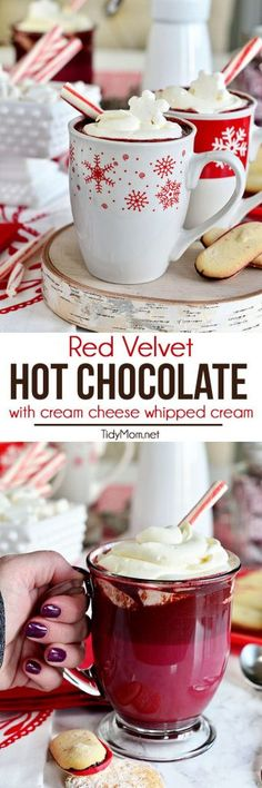 Red Velvet Hot Chocolate with Cream Cheese Whipped Cream I will leave out all the red dye. Cream cheese whipped cream sounds awesome though! Christmas Drinks, Holiday Drinks, Christmas Treats, Fun Drinks, Yummy Drinks, Holiday Recipes, Yummy Food, Beverages, Sweet Cocktails