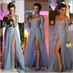 2015 New Fashion Long Sleeves Dresses Party Evening A Line Off Shoulder High Slit Vintage Lace Grey Prom Dresses Long Tulle Formal Gowns