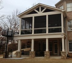 Gable low maintenance screen porch with Stone base columns.Gable low maintenance screen porch with Stone base columns. Screened Porch Designs, Screened In Deck, Screened Porches, Enclosed Porches, Second Story Deck, 4 Season Room, Porch Addition, Deck Addition Ideas, Stone Columns