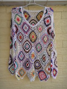 HANDMADE CROCHET GRANNY SQUARE JUMPERS WOMEN LONG SLEEVE DIAMOND