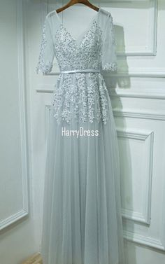 Silver Pleated Beading Lace Crystal Appliques Floor Length Sleeveless Long  Prom Dress