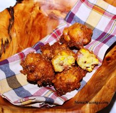 """Hoppin' John Fritters ~ Ingredients needed:  1 box Jiffy cornbread mix, 2 lg eggs, 1/3 c milk, 1/2 c whole kernel corn, drained, 1/2 c (about a 6"""" piece) smoked  sausage, cut into small cubes, 1/3 c canned black eyed peas, drained  & rinsed, 1/4 c chopped onions, 3 T melted butter, 1/4 t garlic powder, 1/4  black pepper, 1/4 t kosher salt, canola oil for frying."""