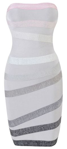 Clothing : Bandage Dresses : 'Lunar' Gradient Grey Strapless Bandage Dress