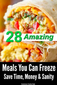 What could be better than eating delicious, healthy meals every day? Answer - When those meals take much less time, energy and money! Here are 28 breakfasts, lunches, dinners and desserts that you can make ahead and freeze. #freezermeals #easymeals Make Ahead Freezer Meals, Frugal Meals, Quick Meals, Healthy Meals, Healthy Recipes, Healthy Food, Meals You Can Freeze, Large Family Meals, Low Calorie Recipes