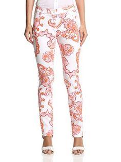 J. McLaughlin Women's Slim Fit Dixie Print Pant (Light Pink/Orange) Slim Fit Pants, Printed Pants, Frocks, Pajama Pants, Fitness, Womens Fashion, Fabric, Cotton, Shopping