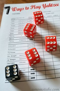 Ways to Play Yahtzee plus Yahtzee Rules! fun games 7 Different Ways for How to Play Yahtzee Yahtzee Rules, Yahtzee Game, Dice Games, Activity Games, Games To Play, Yard Yahtzee, Math Games, Family Card Games, Games
