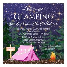 Shop Girls Glamping Birthday Party Invitation created by InvitationCentral. Personalize it with photos & text or purchase as is! Safari Birthday Party, 13th Birthday Parties, Birthday Party Invitations, 10th Birthday, 7th Birthday Party For Girls Themes, Paris Birthday, Birthday Brunch, Party Favours, Carnival Birthday