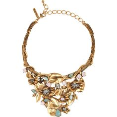 Oscar de la Renta Gold-plated crystal floral necklace ($440) ❤ liked on Polyvore featuring jewelry, necklaces, oscar de la renta, accessories, gold, gold plated jewelry, oscar de la renta jewelry, multi colored necklace and crystal jewelry