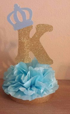 Royal Little Prince or Princess Initial Crown Glitter Centerpiece Light Blue and Gold 1st birthday or Baby shower table decor