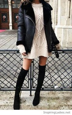 Nude sweater dress, black boots and coat   Inspiring Ladies