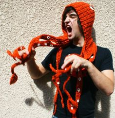 Kraken Of The Sea Scoofie - Mythological Creature Hooded Scarf Couture / CROCHET PATTERN PDF -.