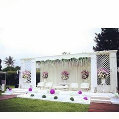 Again, like simplicity, maybe a little off-white curtains pulled to the side to change it up and don't love the flowers hanging Reception Stage Decor, Wedding Stage Design, Wedding Reception Backdrop, Wedding Mandap, Wedding Set Up, Tent Wedding, Engagement Stage Decoration, Marriage Decoration, Garden Wedding Decorations