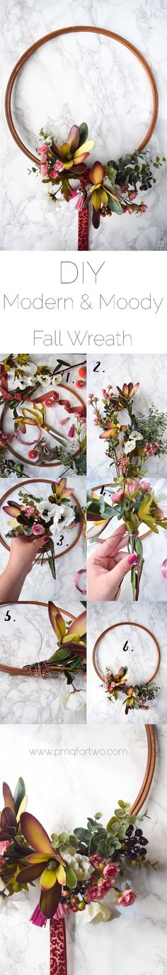 This modern and moody fall wreath is the perfect addition to your fall decor. Using an embroidery hoop and some silk flowers you too can make your own!