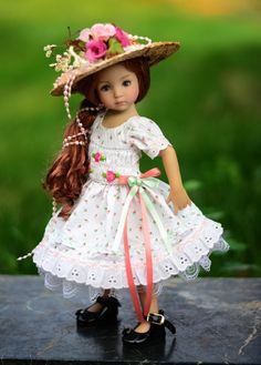 """SOLD """"Tea Time"""" Hand Smocked Dress,Outfit,Clothes for 13""""Effner Little Darling #ClothingAccessories"""