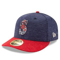 online store 9337f 2d687 Men s Seattle Mariners New Era Heathered Navy Heathered Red 2017 Stars    Stripes Low Profile 59FIFTY Fitted Hat