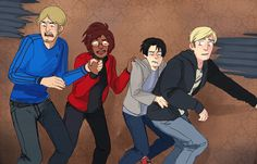 """Attack on Titan ~~ This """"haunted house photo"""" is hilarious! Now we need some for the others, too! :: Mike, Hanji, Levi, and Erwin"""