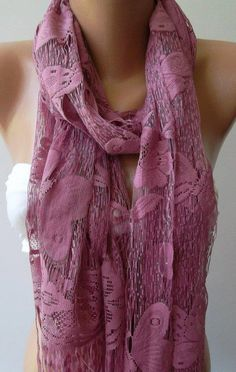 Butterfly / Lilac Pink   Elegant   Scarf  Tulle scarf by womann, $19.90