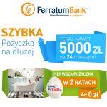Do naszej oferty dołączyły dwie propozycje firmy pozabankowej Ferratum Bank, a są topożyczka ratalna orazchwilówka.Pożyczka ratalna Ferratum Bank jest dostępna w wysokości od 1500 do 5 000 zł na okres od 6do 24miesięcy.Chwilówka Ferratum Bank jest udzielana za pierwszym razem