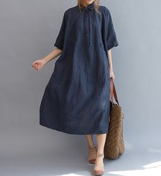 Cotton and linen Maxi Dress women fashion Long dress by MaLieb, $115.00 Ample et confortable !