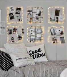 43 Creative Ways Fairy Lights Bedroom Ideas Teen Room Decor Dorm Room Walls, Cool Dorm Rooms, Room Ideas Bedroom, Bed Room, Bedroom Picture Walls, Wall Decor For Bedroom, Bedroom Decor Pictures, Bedroom Wall Collage, Bedroom Photos