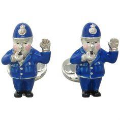 Brand new pair of Deakin & Francis sterling silver and enamel policeman cufflinks @ oakgem.com