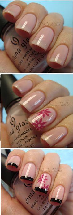 Nails tutorials French - Black & Pink French Manicure look - nail art - nails - nailart how to - nail art tutorial #nailart #nails