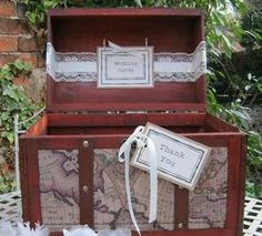 Vintage Style Chest Map Design Lace Pearl Diamante Wedding Card Post Box