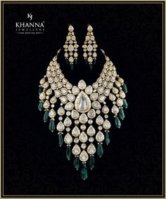 Look like a million bucks! Don this stunningly bold and gorgeous polki and diamond neck-piece and earrings by Khanna Jewellers and complete your royal bridal look. 17 May 2018 Indian Jewelry Sets, Indian Wedding Jewelry, Bridal Jewelry Sets, Bridal Necklace, Bridal Jewellery, Silver Jewellery, Diamond Jewelry, Jewelery, Kundan Set