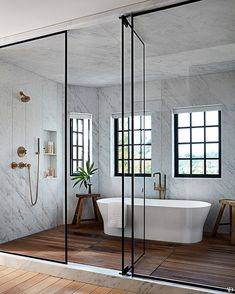 Step Inside Jessica Alba's Haven in Los Angeles This incredible walk-in shower and bath situation is so fun that I never want to go! Step into Jessica Alba's Los Angeles Harbor Architectural Digest House Design, House, Home, Home Remodeling, House Interior, Bathroom Interior, Modern Bathroom, Bathrooms Remodel, Architectural Digest