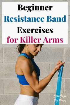 Beginner Resistance Band Exercises for Killer Arms - Check out these beginner exercises perfect to tone and tighten your upper body. All you need is a mini loop band or a long resistance band to do this workout. Great for strengthening your arms and back. Arm Workout For Beginners, Beginner Workouts, At Home Workouts, Beginner Pilates, Pilates Yoga, Pop Pilates, Pilates Video, Pilates Workout, Exercise Band Workouts