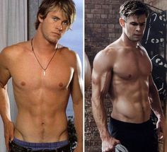 8 Celebrities who Transformed their Physique when they join Marvel Chris Hemsworth Thor, Chris Hemsworth Sem Camisa, Chris Hemsworth Workout, Chris Pratt, Chris Evans, Andy Dwyer, Paul Rudd, Jeremy Renner, The Avengers