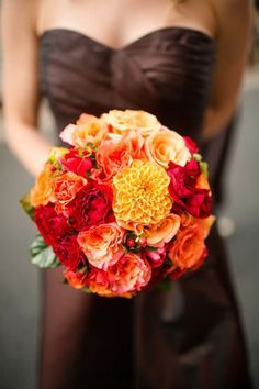An elegant fall bouquet full of rich colors! /// Photo by Katelyn James Photography {Photo via Project Wedding}