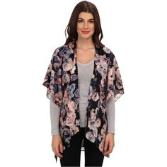 Jack by BB Dakota Caleigh Top (Multi) ($17) ❤ liked on Polyvore featuring tops, multi, kimono top, flower print tops, floral print tops, lace kimono top and lace tops
