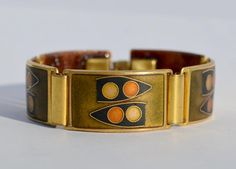 Vintage Schibensky Scholz Lammel Armband Enamel German Bracelet Mattemaille
