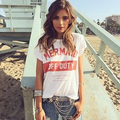 Buy Mermaid Off Duty Letters Printed Funny T-Shirt Women Fashion Casual Short Sleeve Graphic Tee Cotton Ladies Tops Gifts at Wish - Shopping Made Fun Glam Style, Style Me, Tumblr Mode, Oversized White T Shirt, Mermaid Off Duty, Mode Cool, Estilo Cool, Summer Outfits, Cute Outfits